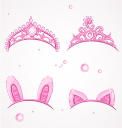 Shining pink girls tiaras with diamonds vector image