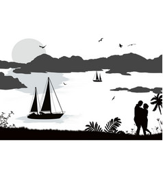 silhouette a couple and ships at sea vector image