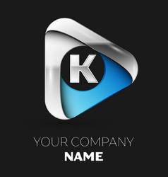 silver letter k logo in silver-blue triangle shape vector image