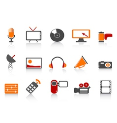 simple media tools icon set vector image
