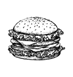 Sketch hamburger or burger logo design template vector