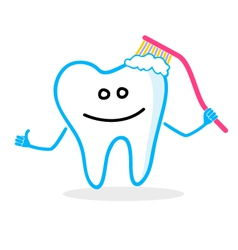 Smiling tooth with toothbrush vector