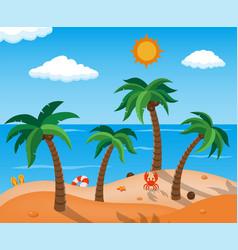 Summer beach in seashore summer holidays vector