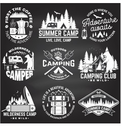 Summer camp on chalkboard concept vector