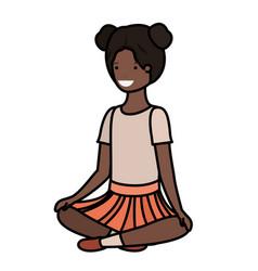 Teenager black girl sitting avatar character vector