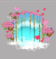 the decor in form a fantasy waterfall with vector image