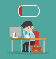 Tired businessman with desktop computer and coffee vector