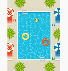 top view pool with sun loungers and umbrellas vector image