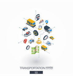 transportation integrated 3d web icons digital vector image