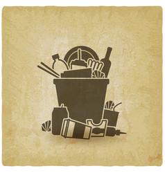 trash bin overflowing garbage vector image