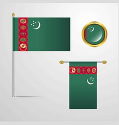 Turkmenistan waving flag design with badge vector