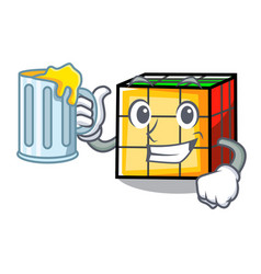 With juice rubik cube mascot cartoon vector