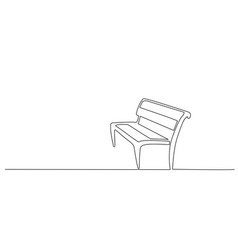 Wood bench in park one line drawing vector