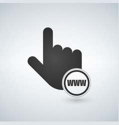 www with hand cursor in flat style vector image
