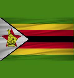 zimbabwe flag flag of zimbabwe blowig in the vector image