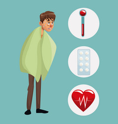 Blue color background with sickness man full body vector