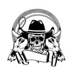 cowboy and skull bull vector image vector image