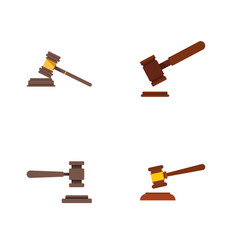 flat icon court set of justice hammer court and vector image vector image