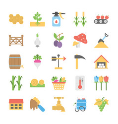 Pack of farming flat icons vector