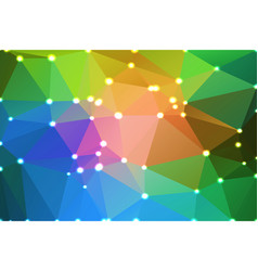 Pink green blue geometric background with lights vector