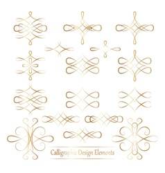Set of gold calligraphic elements for your design vector image