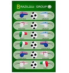 Soccer Tournament of Brazil 2014 Group D vector image
