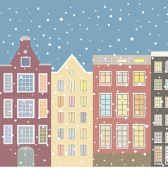 Street houses of the old city and snow vector image