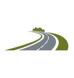 Winding road with green roadside vector