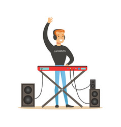Young dj playing some music vector