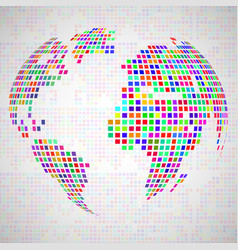 abstract globe earth from colorful pixels vector image vector image