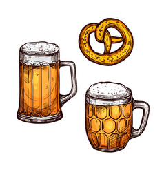 beer glass and bavarian pretzel isolated sketch vector image