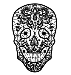 black lace skull vector image