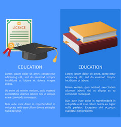 Education licence books pile and academic hat vector