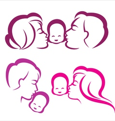 happy family silhouette vector image vector image
