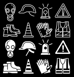 line and silhouettes personal protective equipment vector image vector image