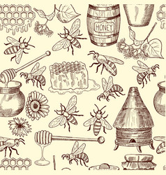 seamless pattern with honey bees and vector image vector image