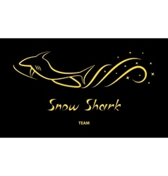 Yellow snowmobile silhouette on black background vector image vector image