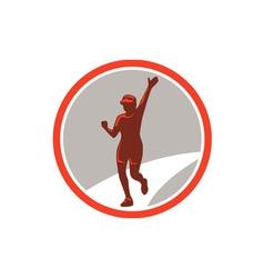 Female Marathon Runner Running Circle Retro vector image vector image