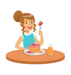 happy girl sitting at the table and eating a cake vector image vector image