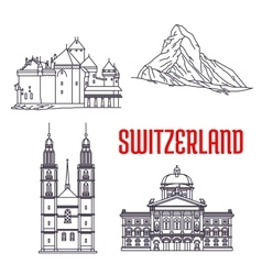 Historic buildings and sightseeings of Switzerland vector image