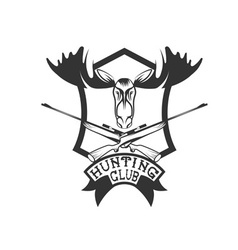 hunting club crest with carbines and elk vector image