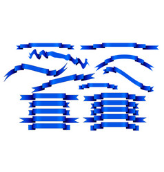 set of blue ribbons on white background vector image vector image