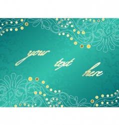 turquoise background with delicate swirls vector image vector image