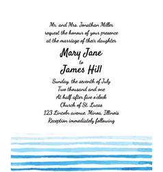 Wedding invitation with watercolor elements vector