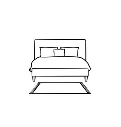 bed with pillows hand drawn sketch icon vector image vector image