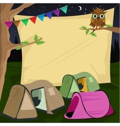 campsite with a giant board stretched behind tents vector image