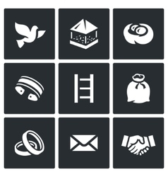 Set of Dovecote Icons Pigeon feeders nest vector image vector image