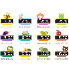 12 colorful digital clocks vector