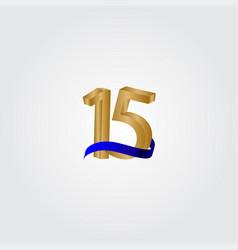 15 years anniversary celebration number gold vector