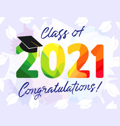 2021 colored graduates class 3d facet vector